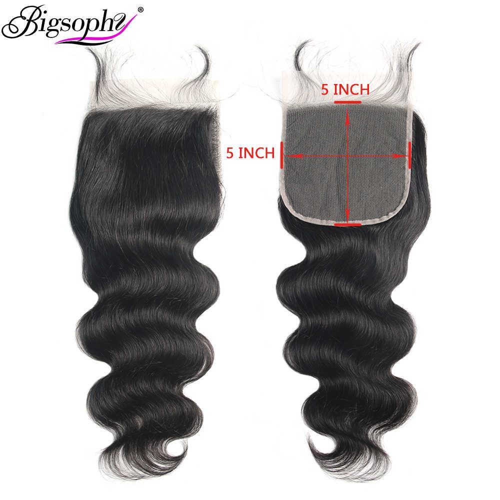 Bigsophy włosy 5x5 zamknięcie koronki ciało fala brazylijski włosy wolna część 100% ludzkie włosy typu remy naturalny kolor zamknięcie z dzieckiem włosy koronki