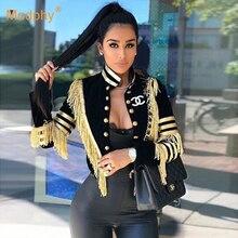 Новинка, зимняя Женская приталенная куртка, сексуальная черная двубортная куртка с длинным рукавом и кисточками, вечерние куртки для знаменитостей
