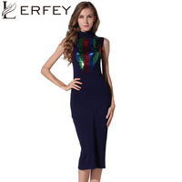 LERFEY Women Sexy Sleeveless Dress Summer Bodycon Turtleneck Sequin Patry Midi Pencil Elegant Casual Ladies Dresses