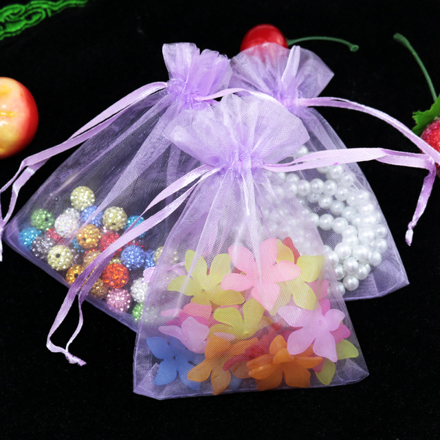 Whole 500pcs Lot Drawable Orchid Large Organza Bags 17x23cm Favor Wedding Christmas Gift Bag Jewelry
