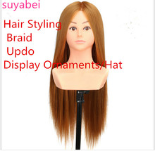 60CM hair length 100% high temperature silk  Fiber mannequin head doll with practice shoulder