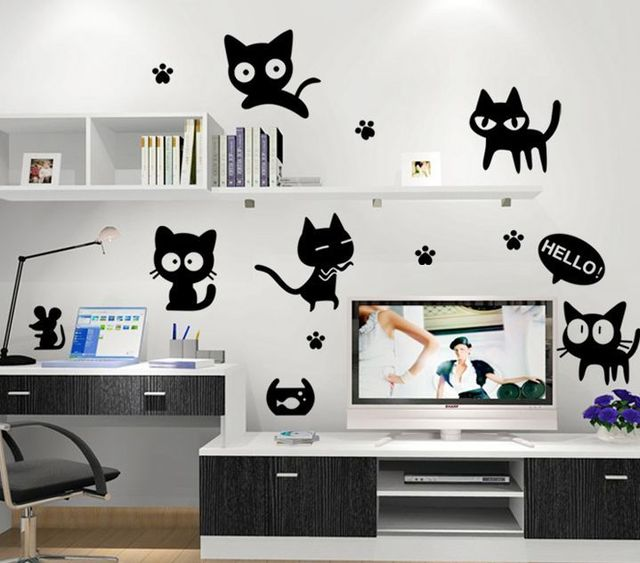 Cute Cat Fashion Wall Stickers Funny Living Room Decor Tv Child Kids