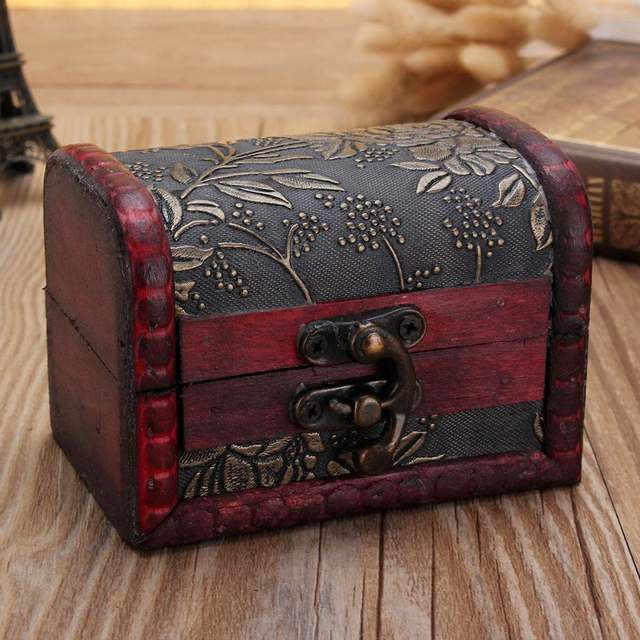 Vintage Small Decor Wooden Box With Lock Jewelry Bracelet Holder Desktop Storage Boxes Case Organizer Candy Gift Favor