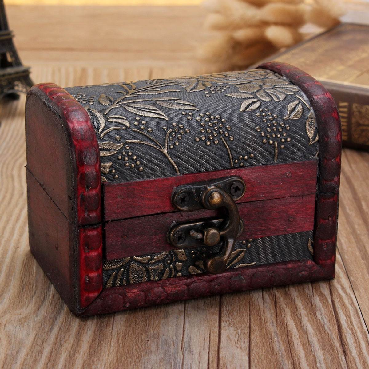 vintage small decor wooden box with lock jewelry bracelet holder desktop storage boxes case organizer candy - Decorative Boxes