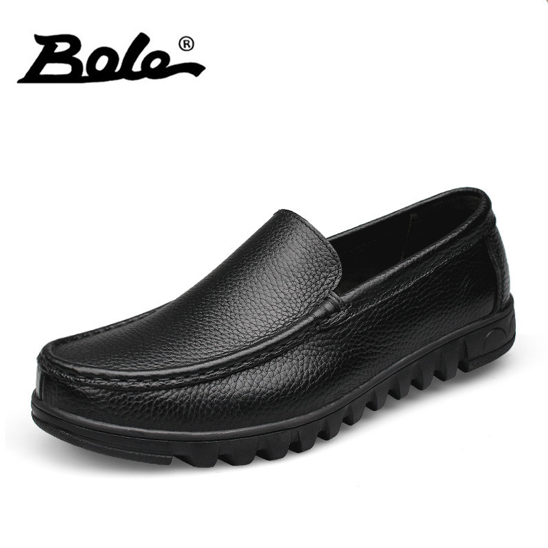 BOLE Fashion Designer Men Leather Shoes Slip on Breathable Men Loafers Handmade Genuine Leather Shoes Men Flats Big Size 37-48 bole new handmade genuine leather men shoes designer slip on fashion men driving loafers men flats casual shoes large size 37 47