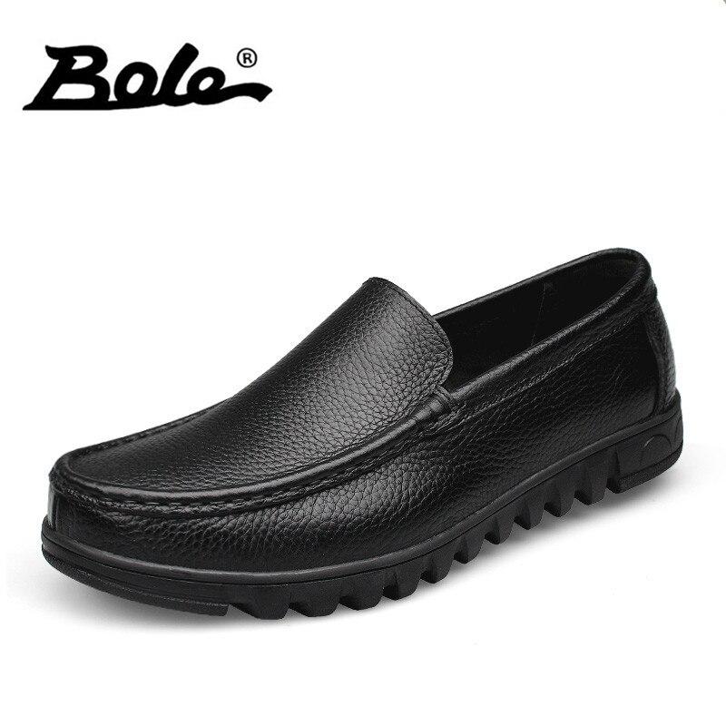 BOLE Men Leather Shoes Designer Superstar Slip on Breathable Men Loafers Handmade Genuine Leather Shoes Men Flats Big Size 37-48 high end breathable men casual shoes loafers genuine leather lace up rubber handmade slip on sewing lazy shoes italian designer