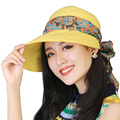 new summer spring autumn belt Women's Foldable Wide Large Brim Floppy Sun bow fold lovely Floppy Cloche bowler Hat Cap