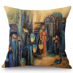 Image 4 - Islamico Pittura di Arte Arabo Donna di Trasporto Piastra Musulmano Decorazione Della Casa Divano Coperte E Plaid Coperture Per Cuscini In Stile Mediterraneo Fodere Per Cuscini
