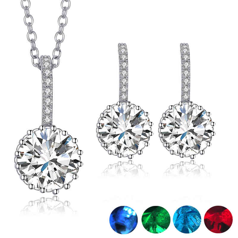 Round Cubic Zirconia Pendant Necklace Earring Set Jewelry Gifts For Women Bridal Luxury Weeding Party Decor