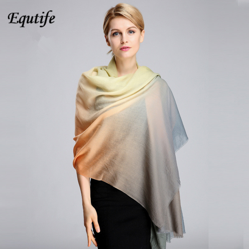 Equtife Warm Cashmere Scarf Women 200 100cm Large Size Gradient Color Pashmina Shawl Good Quality Neckerchief Female Scarf in Women 39 s Scarves from Apparel Accessories