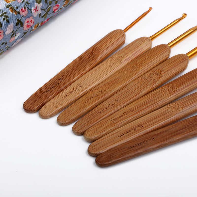 8 шт. бамбуковый вязальный крючок [2,5 мм-6 мм] спицы DIY поделки для Ткачество инструменты сумка крючковая игла ручные инструменты для пряжи ZL6161