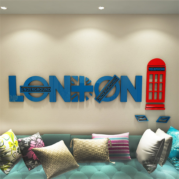 Creative English London telephone booth 3D acrylic Wall Sticker Living Room Sofa Background Wall Decorative Wall Sticker