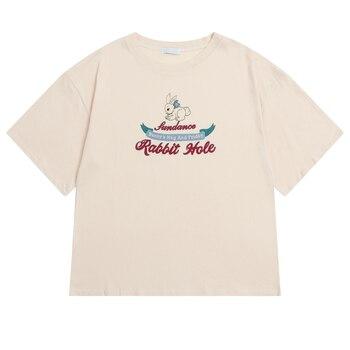 Novedad de verano, Camiseta holgada a la moda para mujer, Camiseta de manga corta Beige con estampado de bonito Conejo, camisetas casuales para mujer, camisetas con cuello redondo, camisetas Preppy