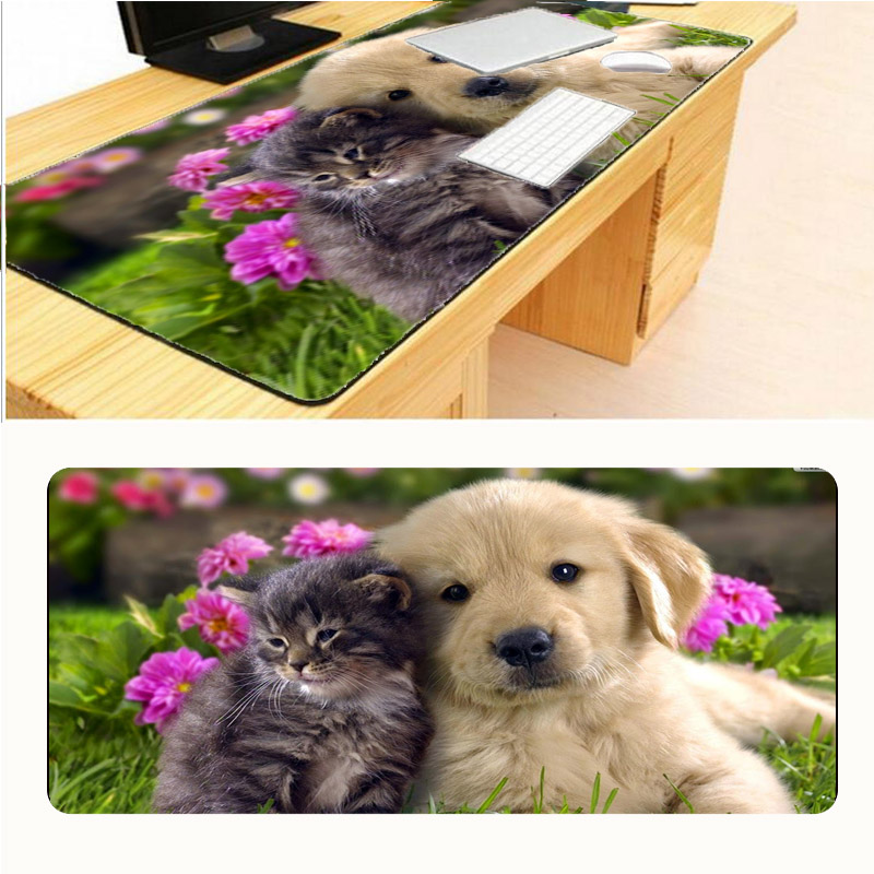 Mairuige 2018 Professional Computer Game Large Mouse Pad Cat and Dog Series 800x300mm Mousepad Grange with Edge Locking for Cat