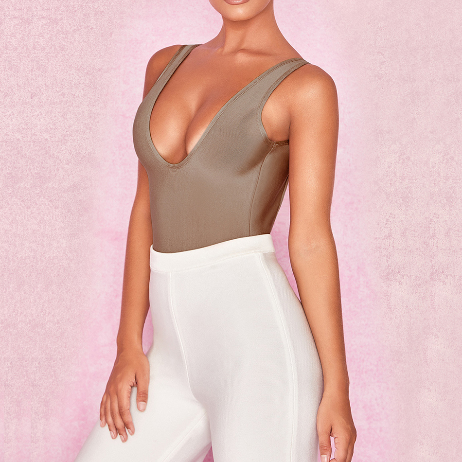 ADYCE 2018 New Arrival Summer Women Bandage Bodysuits Sexy Deep V Neck Khaki Sleeveless Evening Party Bodycon Bodysuits Rompers