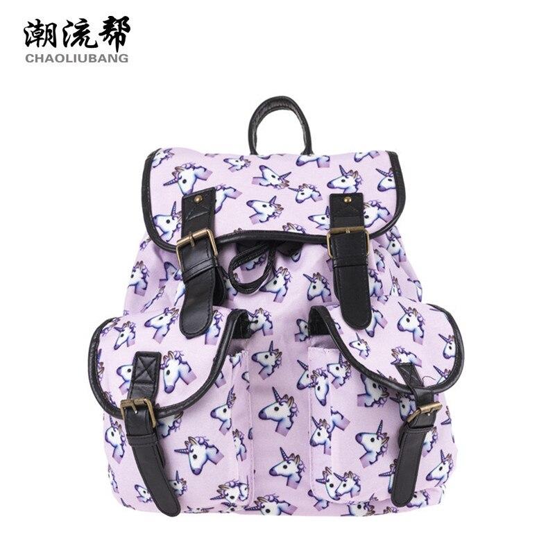 CHAOLIUBANG Vintage Women Backpack Unicorn Printing School Bags for Teenage Girls Oxford Travel Daypack Two Pockets
