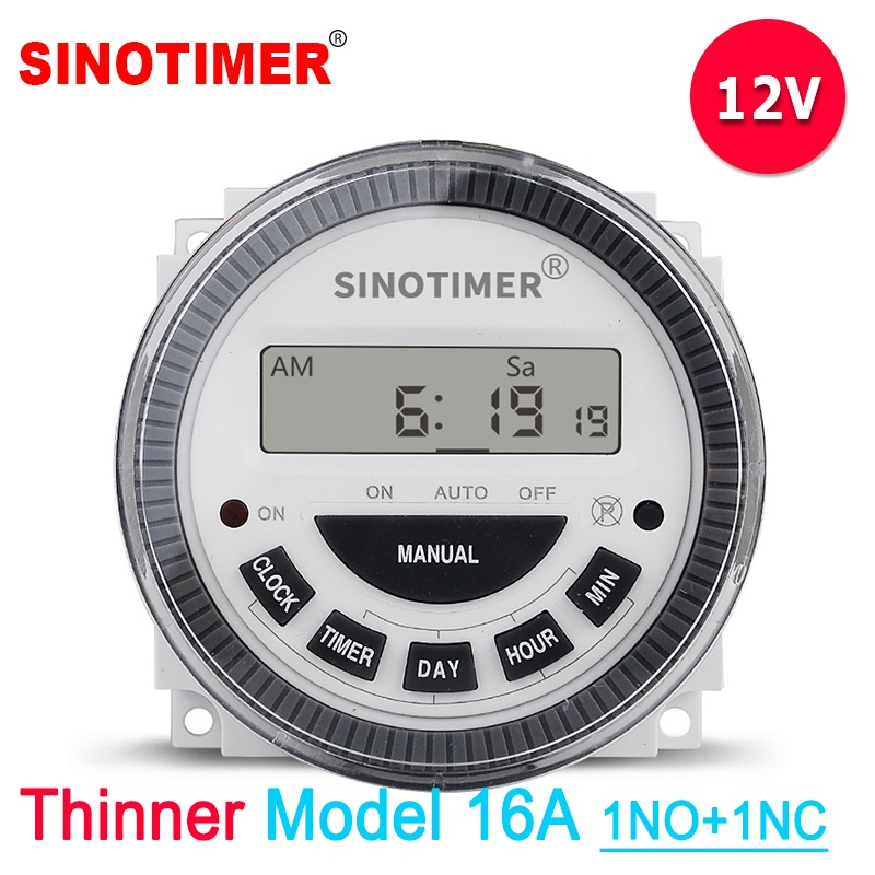 SINOTIMER Digital 7 Days Weekly Programmable 12V DC Automatic Gate Timer Switch with UL listed relay inside for Solar
