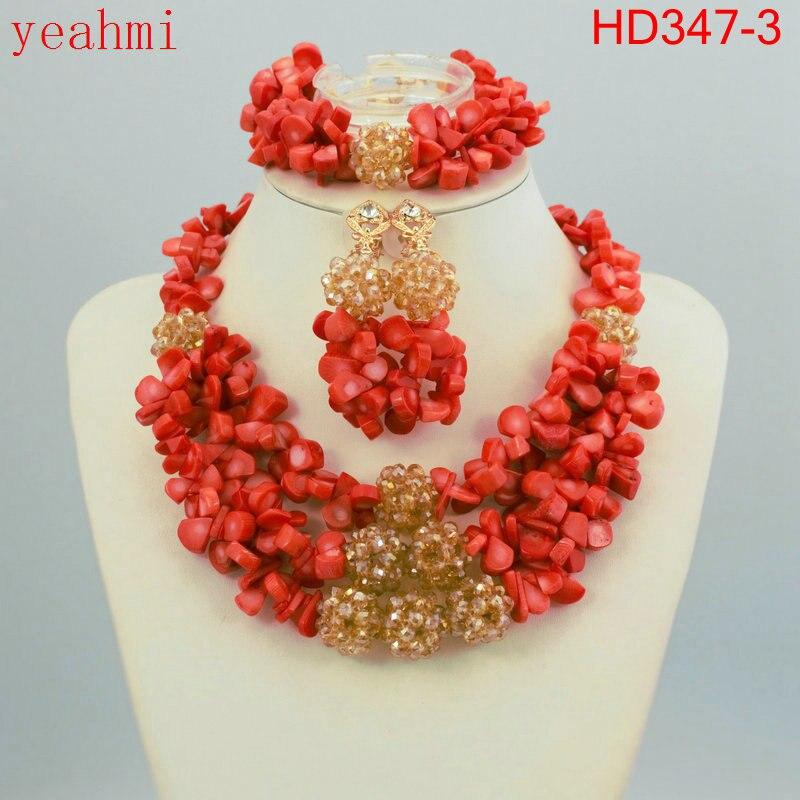 Costume de mode mariée Imitation perle mariage nigérian perles africaines ensemble de bijoux cristal indien collier et boucle d'oreille ensemble HD347
