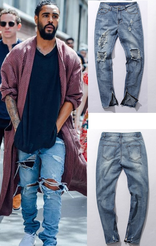 e975e0ce4bc kanye west slp rockstar designer brand slim denim blue destroyed ripped  skinny leisure casual pants zipper fly jeans trousers-in Jeans from Men s  Clothing ...
