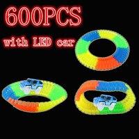 600 pcs magic Glow racing track LED Light Track Car Flexible Glowing Race Track glowing race track set