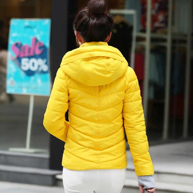 2019 Повседневная Женская однотонная стеганая куртка короткая осенне-зимняя стеганая куртка женские пальто с капюшоном женские парки с перчатками пальто