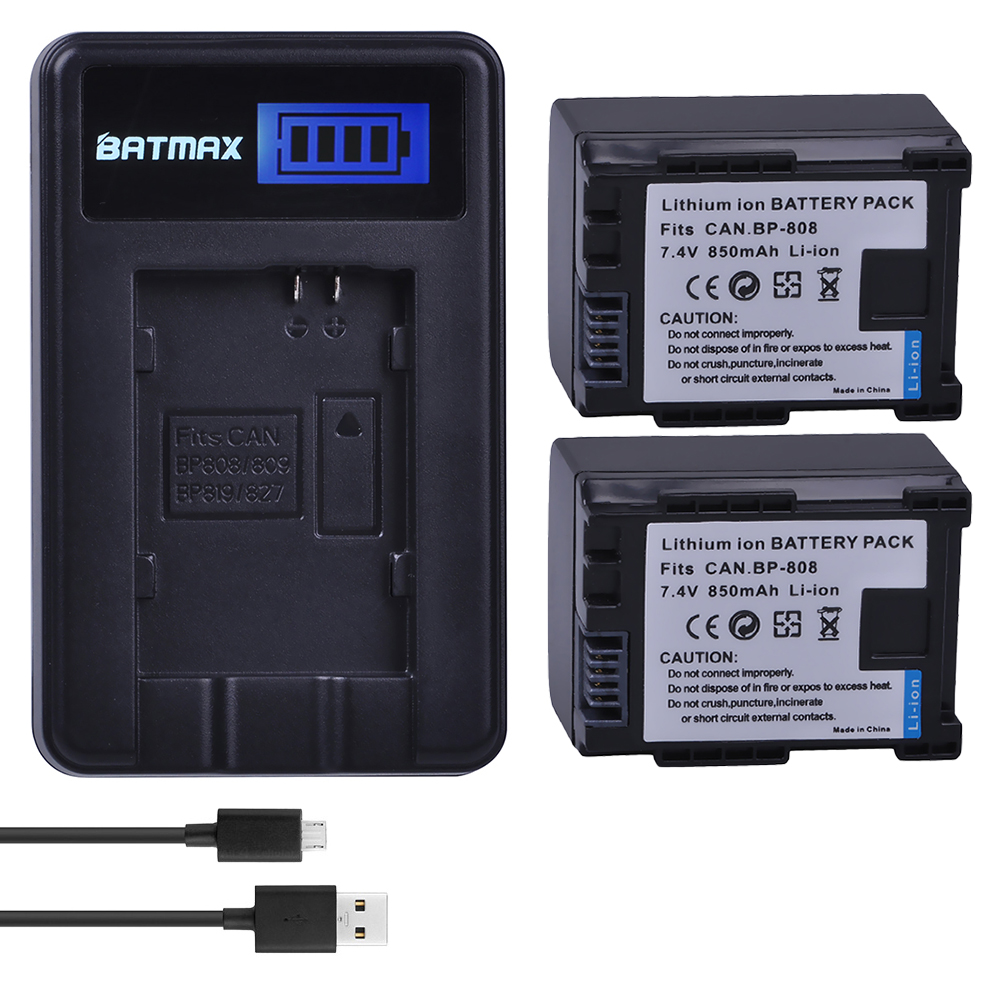 2Pc BP-827 BP 827 BP-819 BP-807 BP-809 BP 808 Battery + LCD USB Charger for CANON HG31 XA10 HF20 HF10 HF100 HF100E HG20 HG21 bp studio болеро