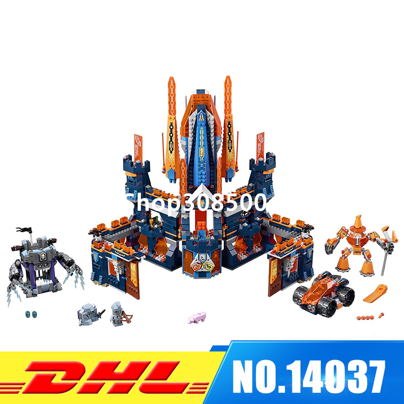 In Stock Lepin 14037  1295Pcs King Castle Nexus Knights Model Building Blocks Bricks figures Kids Toys For Children 70357 lepin 14004 knights beast master chaos chariot building bricks blocks set kids toys compatible 70314 nexus knights 334pcs set