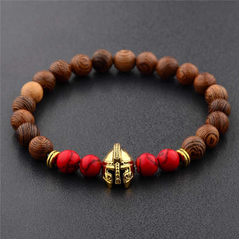 8mm hecho a mano para hombre cuentas de madera pulseras casco Guerrero leopardo León Buda amuletos pulsera de cuentas de madera mejor amigo joyería regalo