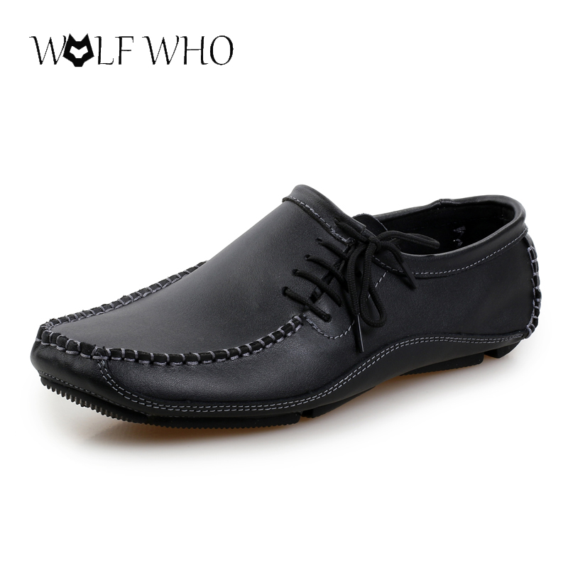 Big Size 38-47 Men Shoes Gentle Dress Shoes,Leather Oxford Boat Shoes Side Lace Up Design moccasins Casual Business Formal Shoes