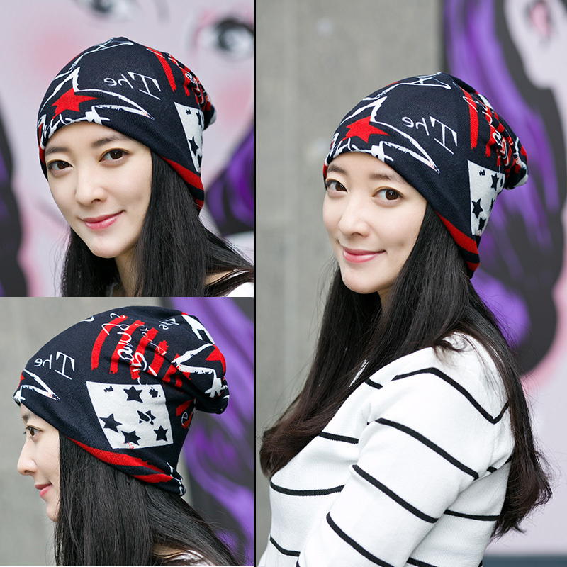 Korean New Fashion Hats for Women Girls Headgear Star Letter Design Hip-hot   Skullies     Beanies   Winter Autumn Multipurpose Cap