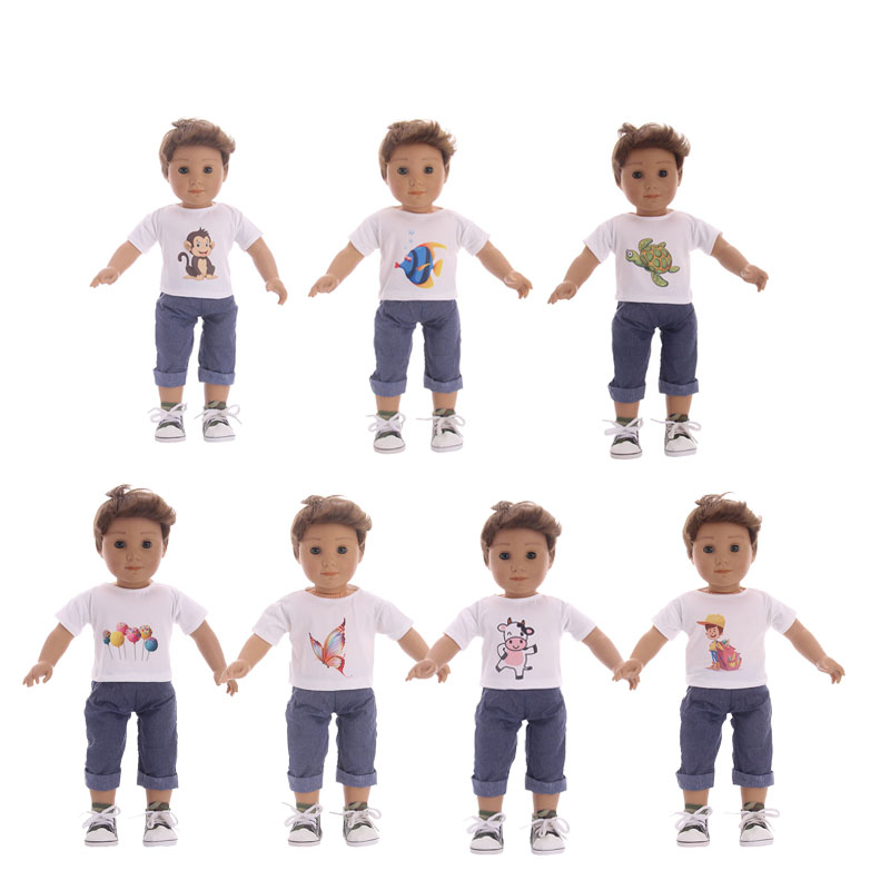 Doll Clothes 7 styles pattern T-shirt+pants suit Fits 18 Inch American Girl & Boy Dolls Logan Doll Outfits 18 inch doll clothes and accessories 15 styles princess skirt dress swimsuit suit for american dolls girl best gift d3