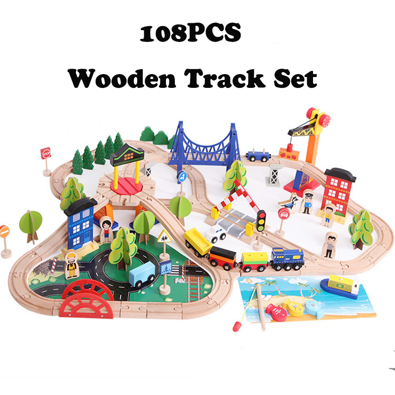 108PCS Traffic Wooden Train Track Set Car Model Slot Puzzles Wooden Railway Early Educational Toy For