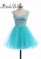 Modabelle Turquoise Blue Short Cap Sleeve Beaded Tulle Homecoming Dresses Junior High Prom Dresses Graduation Party