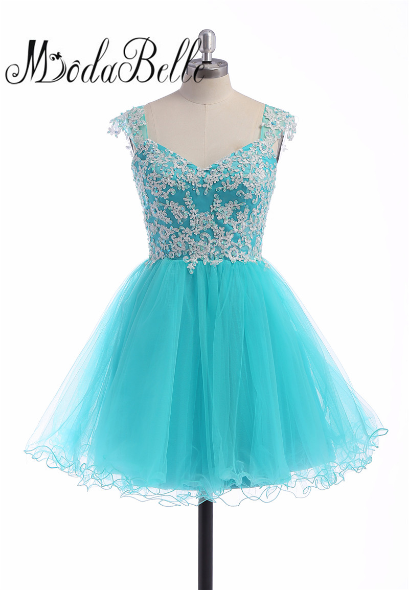 modabelle Turquoise Blue Short Cap Sleeve Beaded Tulle Homecoming ...