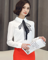 Free Shipping High Quality New Arrival Fashion Peter Pan Collar Bowknot Long Sleeve Woman Chiffon Blouse White