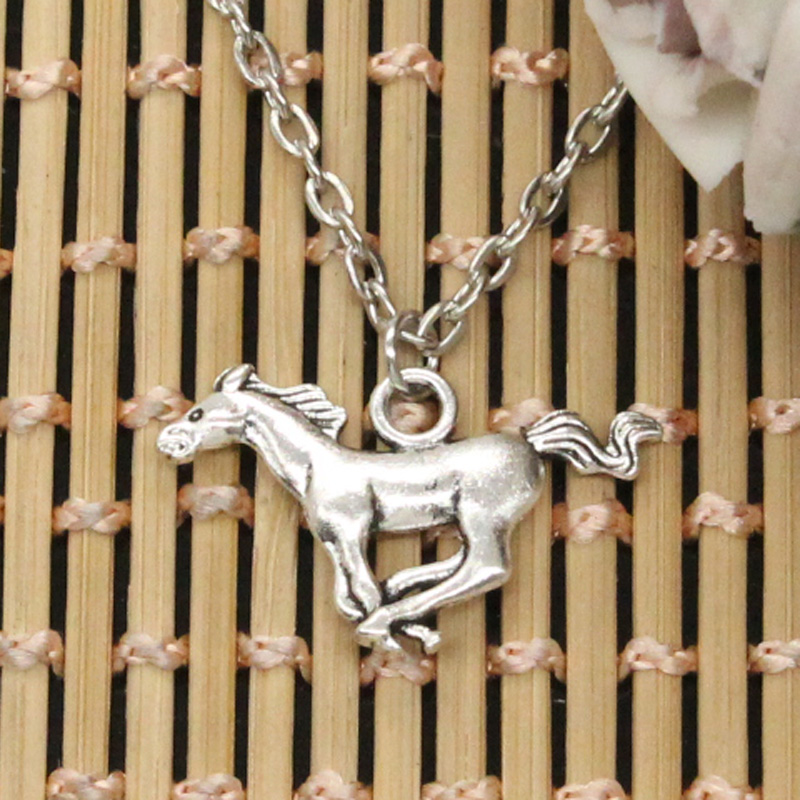 new fashion running horse steed Pendants round cross chain short long Mens Womens DIY silver necklace Jewelry Gift