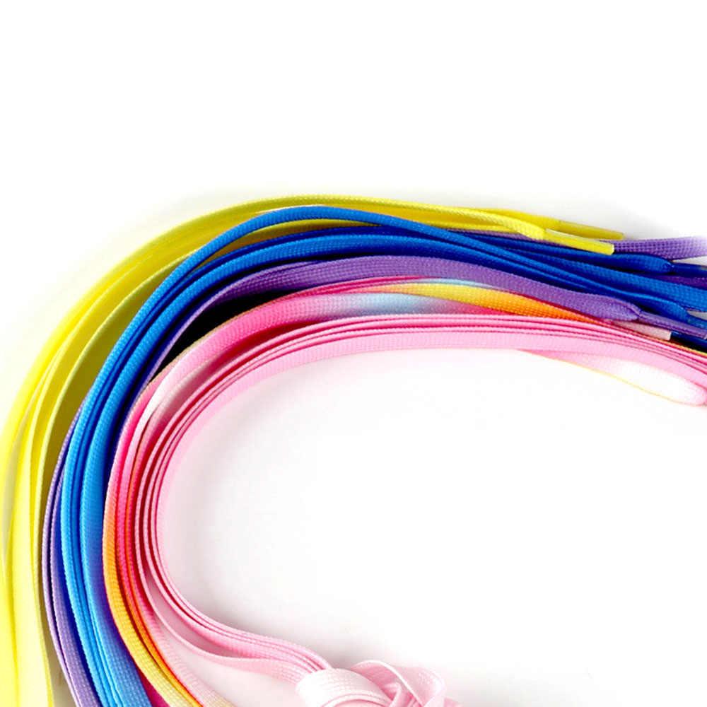 Venta caliente 2019 nuevo 1 par de cordones de zapatos de Color caramelo gradiente plano redondo Bootlace cordones de zapatos de fiesta botas de Camping zapatos de lona las cuerdas de los cordones de los zapatos