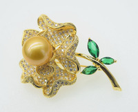 freshwater pearl yellow dison 13 14mm round AA flower brooch FPPJ wholesale beads nature