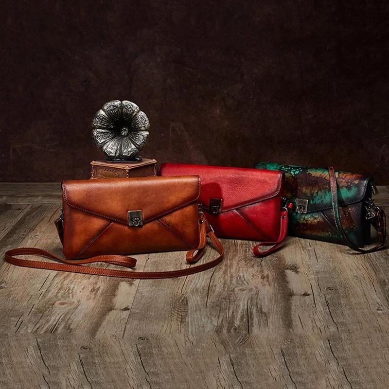rouge Véritable façon Enveloppe De Cuir Rabat Croix Femmes Jour Femelle Bracelets Bourse multi Marron Sac D'embrayage Dames Designer D'épaule Tanné Trois E4wRd4