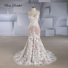 Rosabridal Mermaid Wedding Dress 2019 Lovely Candy Color Backless Strapless nude tulle lace applique sexy Trumpet bridal gown