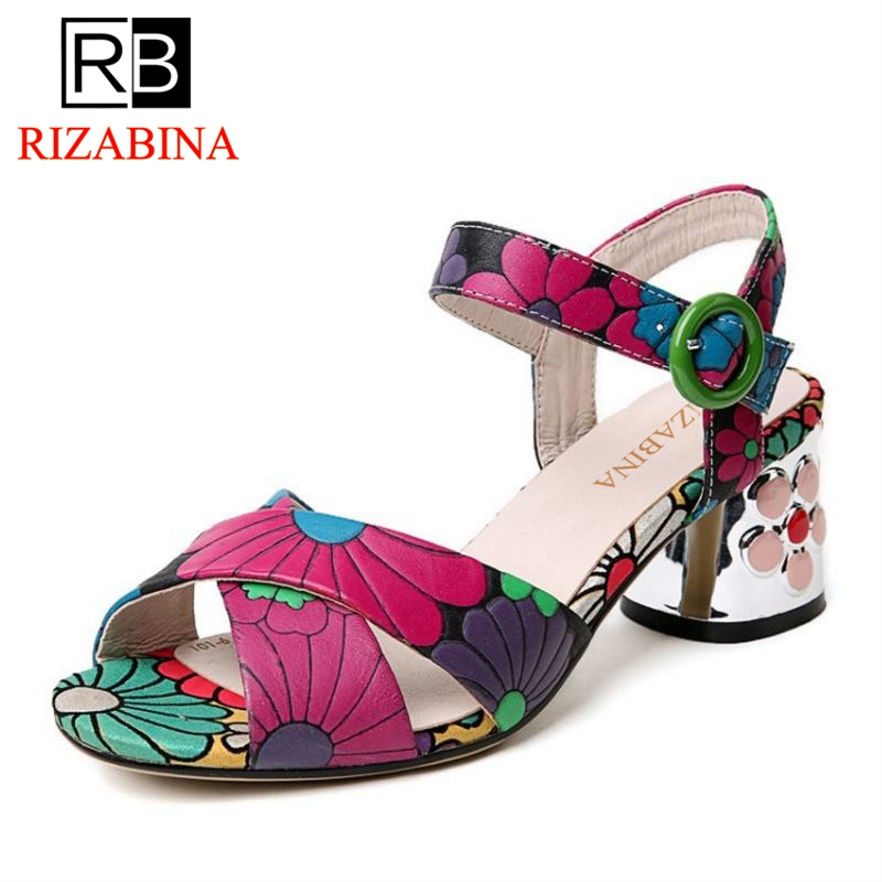 RIZABINA Brand Shoes Women Real Leather Thick High Heel Peep Toe Sandals Women Print Flower Buckle Sweety Footwear Size 34-39