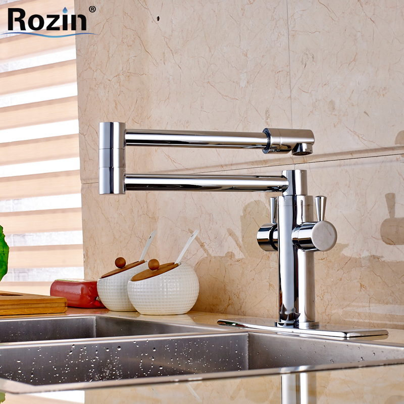 Polished Chrome Brass Hot and Cold Water Kitchen Faucet Single Handle Stretch Folding Neck Mixer Taps