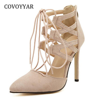 COVOYYAR 2018 Lace Up High Heels Pointed Toe Women Pumps Spring Autumn Fashion Stilettos Women Shoes Gladiator Sandals WHH543