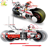 HUIQIBAO TOYS 392pcs Technic Pull back Exploiture Motorcycle Building Blocks For Children Legoingly City speed Race car Bricks