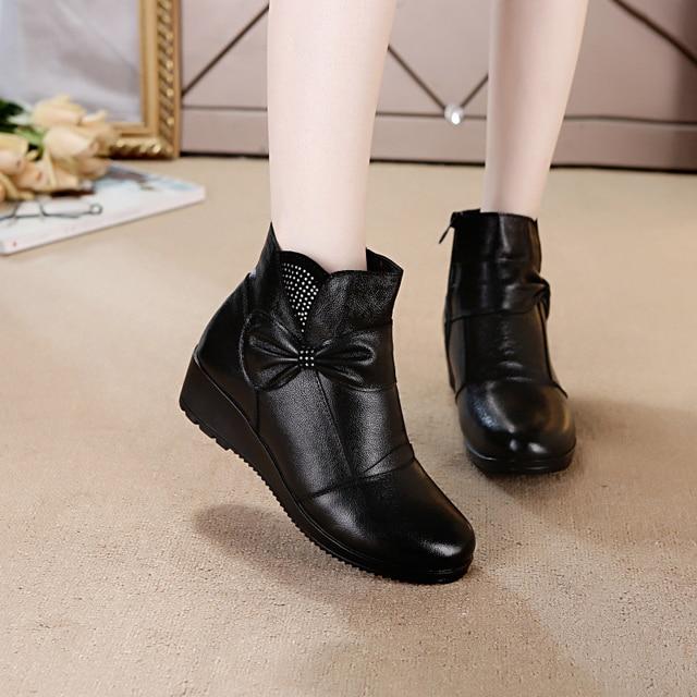 Vrouwen merk laarzen 2018 nieuwe Winter moeder laarzen echt leahter katoenen schoenen warme laarzen anttlip enkel moeder winter platte laarzen