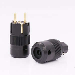 Image 2 - Pair 24K Gold Plated EU version Schuko AC power plug IEC power connector for audio power cable
