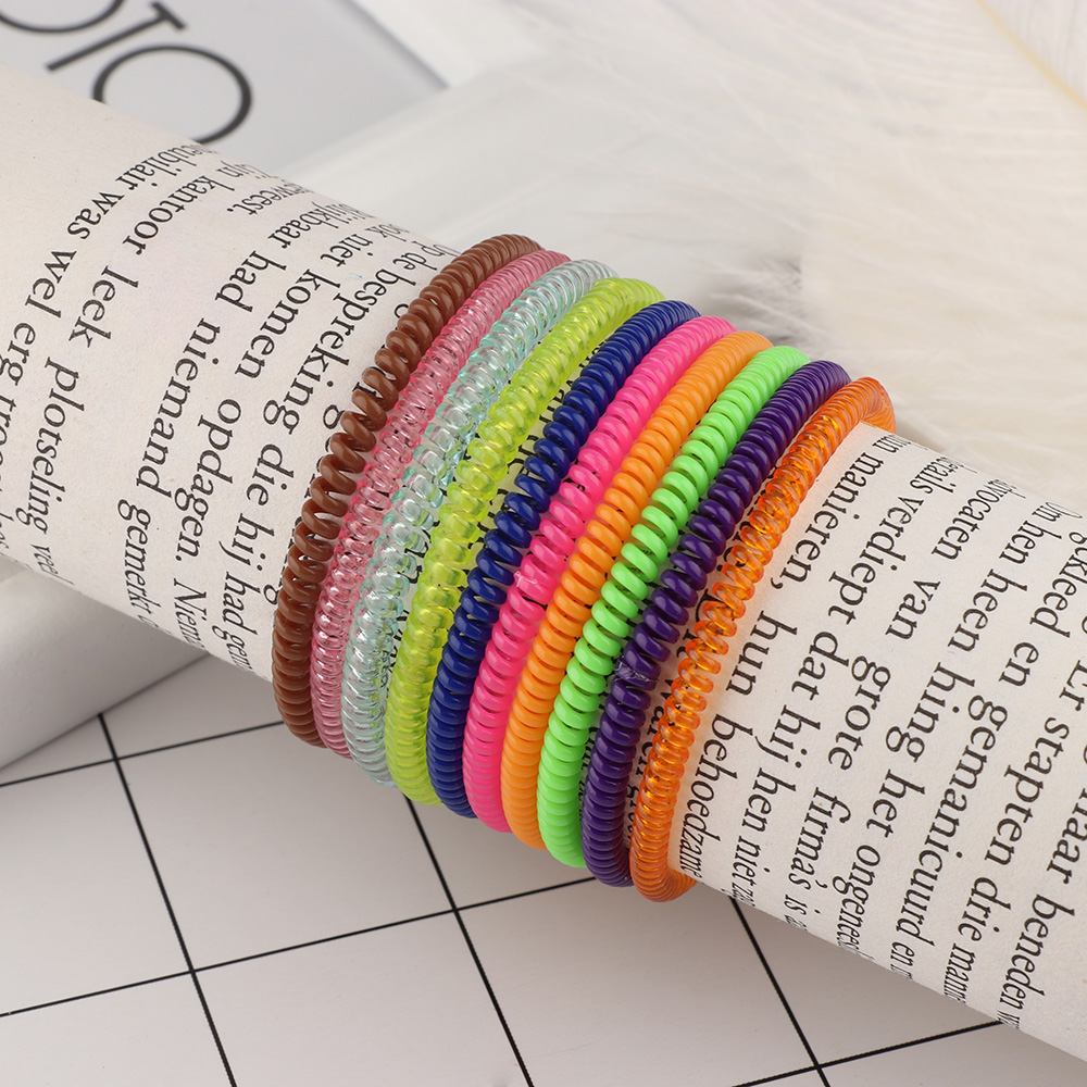 5pcs Super Thin Elastic Hair Ropes Girl Rubber Telephone Wire Style Ties Plastic Ropes Ponytail Holder Hair Styling Accessories