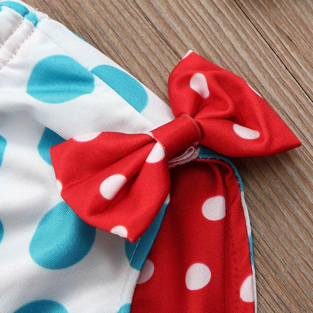 Infant Kids Baby Girls Swimwear Dots Bowknot Straps Swimsuit Bathing Bikini Set Sports Leisure Suit Mickey T-shirt