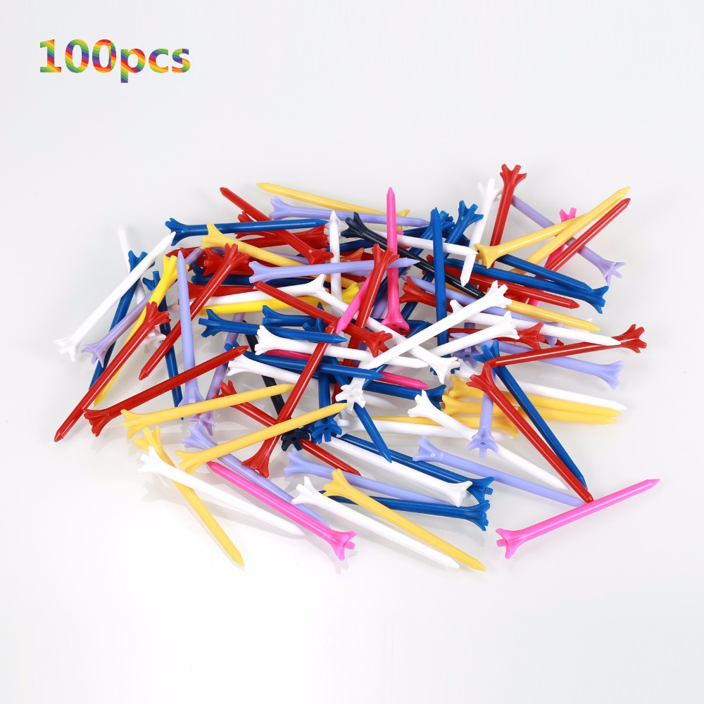 Golf-Tees 83mm Plastic Friction Zero Prong 5 100pcs/Pack Professional Durable title=
