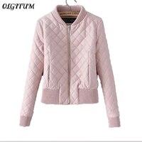 Women Jacket 2017 Autumn Winter New Women Fashion Jacket Coat Slim Short Pink PU Jacket Women